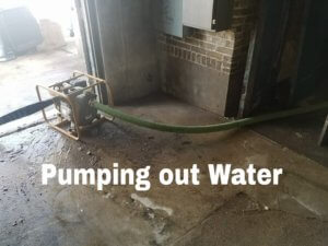 One of the many pumps used to quickly remove flood water from the Historic West Bend Theatre.